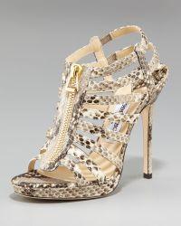 Jimmy Choo Snake-print Gladiator Sandal - Lyst