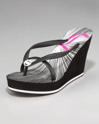 Juicy Couture - Lara Graphic Double-Strap Platform Wedge Flip Flop - Lyst