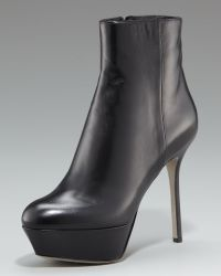 Sergio Rossi Leather Ankle Bootie - Lyst