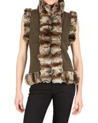 Vicedomini - Rabbitfur Trim On Cashmere Knit Fur Coat - Lyst