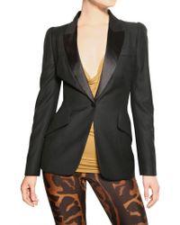 Alexander McQueen Satin Lapel Cool Wool Tuxedo Jacket - Lyst