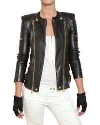 Balmain Nappa Biker Leather Jacket - Lyst