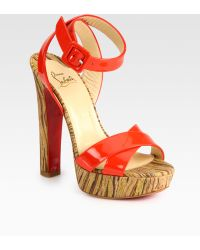 Christian Louboutin Glory Patent Leather Printed Platform Sandals - Lyst