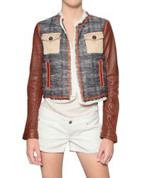 DSquared² Leather Sleeve Boucle Jacket - Lyst