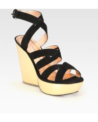 Marc By Marc Jacobs Strappy Suede and Metallic Leather Wedge Sandals - Lyst