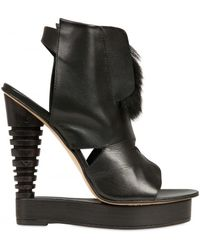 Alain Quilici Leather and Fur Open Toe Wedges black - Lyst
