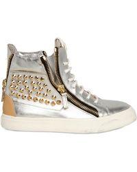 Giuseppe Zanotti Metallic Leather Studded Sneakers - Lyst