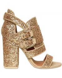 Givenchy 100mm Glitter Buckled Sandals - Lyst