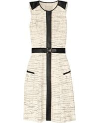Jason Wu Belted Leather-trimmed Tweed Dress - Lyst