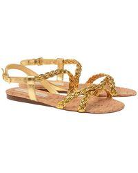 Stella McCartney Flat Rapunzel Braided Sandal - Lyst