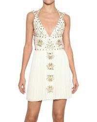 Versace Studded 3d Jersey Dress - Lyst