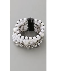 Juicy Couture Pearl & Resin Multi Strand Bracelet - White