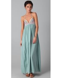 Mara Hoffman Embroidered Halter Maxi Dress - Lyst