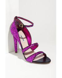 Miu Miu Glitter Ankle Strap Sandal - Lyst