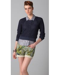 See By Chloé Lace Knit Cropped Sweater - Lyst