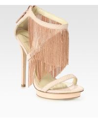 B Brian Atwood Cassiane Snake-print Leather Fringe Sandals - Lyst