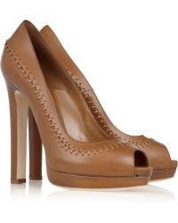 Alexander McQueen Stitched Leather Peep-toe Pumps - Lyst