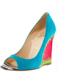 Christian Louboutin Miramar Suede & Patent Wedge Pump - Lyst