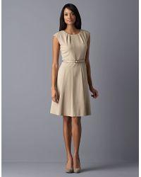 Ak Anne Klein - Cap-sleeved Belted Dress - Lyst