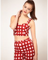 ASOS Collection Asos Bra Top with Gingham Print - Lyst