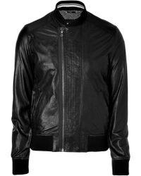 D&G Black Leather Blouson Jacket - Lyst