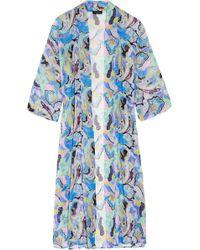 Etro - Printed Silk-chiffon Beach Robe - Lyst