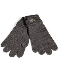 Lacoste - Charcoal Knit Gloves - Lyst