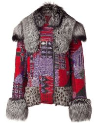 Matthew Williamson - Multicolor Panelled Jacket with Fur Collar - Lyst