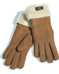 Ugg Chestnut Turn Cuff Gloves - Lyst