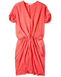 Carven Red Twist Waist V Neck Dress - Lyst