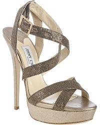 Jimmy Choo Bronze and Silver Metallic Fabric Louisa Crisscross Platform Sandals - Lyst