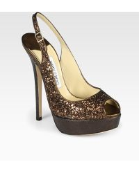 Jimmy Choo Vita Glitter-coated Metallic Leather Slingback Pumps - Lyst