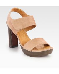 Chie Mihara Cody Suede Slingback Platform Sandals - Lyst