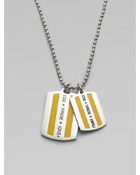 Fendi - FF Enamel Dog Tag Necklace - Lyst