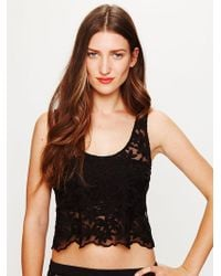 Free People Daisy Embroidered Mesh Crop Top - Lyst