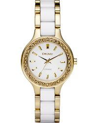 DKNY Ceramic & Stainless Steel Crystal Bezel Watch - Lyst