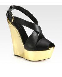 Giambattista Valli Metallic Leather Wedge Sandals - Lyst