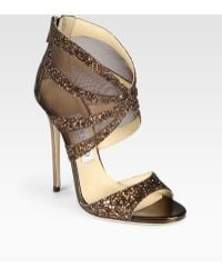 Jimmy Choo Leila Glitter-coated Metallic Leather and Mesh Sandals - Lyst