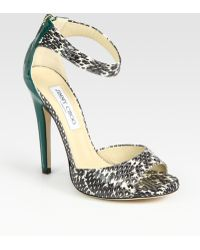 Jimmy Choo Trinity Snakeskin and Patent Leather Sandals - Lyst
