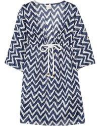 Milly Ava Zigzag-print Cotton-voile Kaftan blue - Lyst
