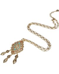 R.j. Graziano - Gold Puff Tear Drop Pendant Necklace - Lyst