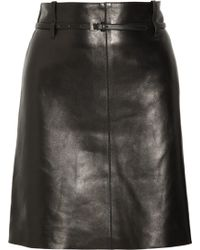 Chloé Belted Leather Skirt black - Lyst