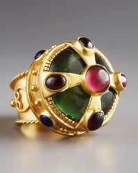 Stephanie Anne Multi-stone Crown Ring gold - Lyst