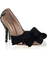 Vionnet - Crystal-studded Satin Court Shoes - Lyst