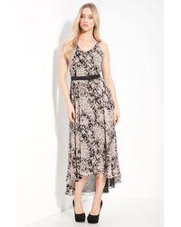 Halston Heritage Belted Silk Dress - Lyst