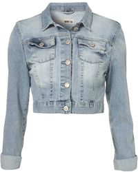 Moto Crop Denim Bleach Jacket - Lyst