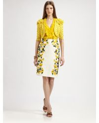 Oscar de la Renta Cotton Flower Skirt yellow - Lyst