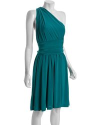 Halston Heritage Teal One Shoulder Sash Dress - Lyst