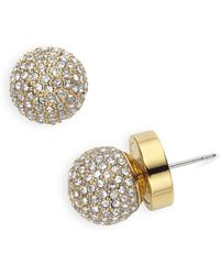 MICHAEL Michael Kors | Gold Tone Pave Fireball Stud Earrings | Lyst