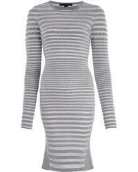 Alexander Wang Grey Stretch Striped Fleece Dress - Lyst